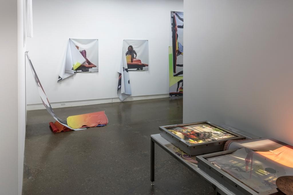 Exhibition view. Standing Under Mis, 2017. Full description of works below.