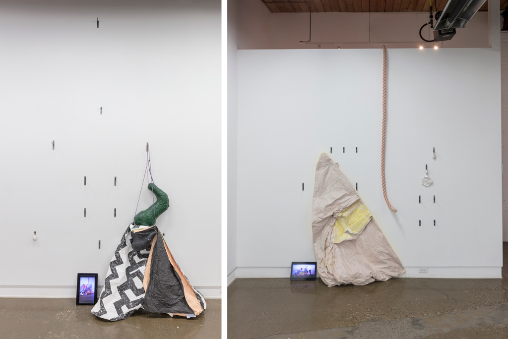 Exhibition view. Left: (video screen) Matching Poses, 2-3, 2017; Out Of Those Moments (Wall Mound), 2017, detail. Right: (video screen) Matching Poses, 1-4, 2017; Out Of Those Moments (Wall Mound), 2017, detail. Full description of works below.